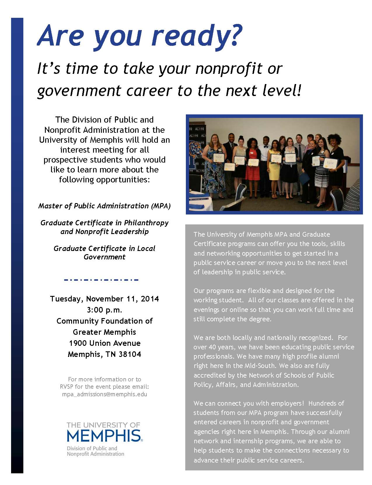 PADM Interest Meeting Flyer | Virtual Career Center